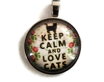 Keep Calm and Love Cats - Glass Cabochon Pendant - Silver Alloy (011)
