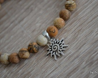 Bracelet gemstone beads and Sun sterling silver