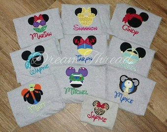 Disney Mickey & Minnie /Safari/Ariel/Buzz Lightyear/ Darth vader/ Spiderman/ Belle/Epcot/Minnie/ Mickey/ Disney family shirt (made to order)