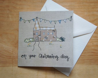 Christening Card | Baptism Card - Neutral Baby Card - Church and Bunting