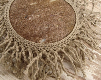Unique Crocheted Lace Stone, Tan Colored Cotton Gimp, Hand Knotted Tassels, Collectible Fiber Art Stone, Unique Handmade Gift
