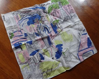Vintage Handkerchief | CELEBRITEES HANKY | Irish Linen Handkerchief | High Fashion | Ladies Accessory | Paris New York | Water Color Print