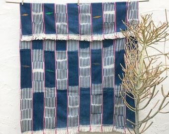 African Baule Cloth Blue Pink Vintage Textile African Fabric Indigo Textile Cotton Throw Hand woven Boho wall decor, tribal fabric 6
