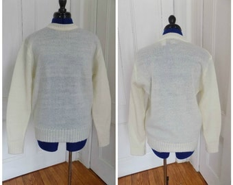 Vintage Cream Off White Ivory Sheer Pullover Knit Sweater Jumper