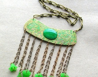 Statement Necklace - Green Boho Necklace - Bohemian Necklace - Boho Chic - Handmade Necklace - Gift Idea