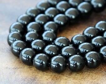 Jet Czech Glass Beads, 8mm Round- 25 pcs - e2398-8r