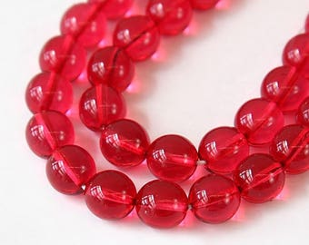 Cranberry Pink Czech Glass Beads, 10mm Round Druk - 25 pcs - e67958-10r
