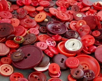 Huge Red Button In a Glass Jar Vintage Buttons Collection Destash Lot