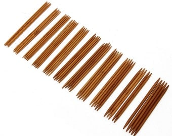 55 pieces 5 inch bamboo dpns. 11 sets of 5 double point needles, dpn's, knitting needles for socks, hats, gloves, mittens.