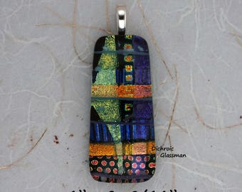 Dichroic Glass Pendant Jewelry Cabochon fused 024