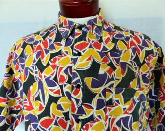 aloha vintage 80's 90's Pro-Spirit faded black purple red yellow floral print shirt crazy abstract print short sleeve collar shirt Large