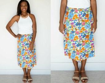 Vintage Floral Skirt / 1970s Midi Skirt / Button Skirt / Bright Skirt / A-Line Skirt / High Waist Skirt / Psychedelic Skirt / Floral Skirt