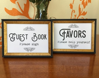 PRINTABLE Wedding signs, 5x7.  Downloadable PDF file, print at home, framable sign. Favors and Guest Book, Vintage text with scroll detail.