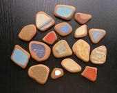 17 pieces,Painted Terracotta ,  Sea Pottery Lot, Earthy Beach Pottery,Blue/Petrol Green/Red/Mustard  Mosaic Pieces