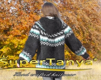 SUPERTANYA hand knitted Nordic mohair sweater in black with hood made to order
