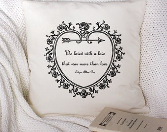 Edgar Allan Poe-Annabel Lee Quote-18X18 White Pillow Cover | Valentine's Day, Wedding Gift, Gift for Her, Wife/Girlfriend Gift, Couples Gift