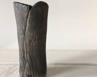 Small Faux Bois Ceramic Bud Vase / Handmade Wood Grain Small Vase / Blue Brown