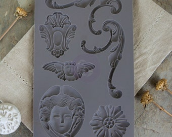 Prima Marketing Baroque No.1 Iron Orchid Designs Vintage Art Decor Mold, Grey