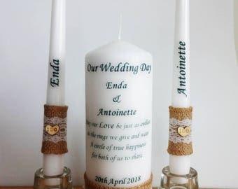 Rustic Wedding Unity Candle Set Wedding Unity ceremony Candles set Wedding Unity ideas décor Bride and Groom outdoor wedding wooded heart