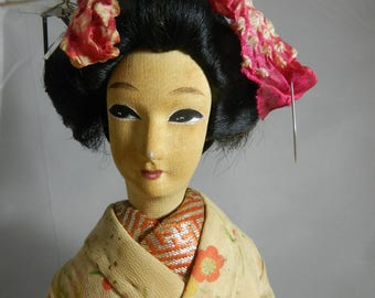 Mid-Century Japanese Geisha Silk Doll Figurine kneeling on bamboo matt wearing Ivory Kimono - Collectible