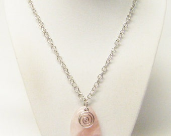 Pink Semi-Precious Stone w/Round Spiral Silver Plated Pendant Necklace