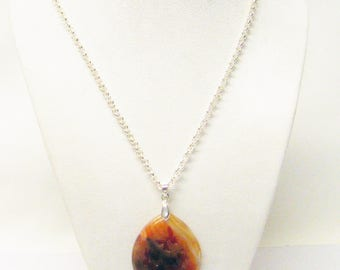 Brown Speckle Agate Teardrop w/Butterfly Pendant Necklace