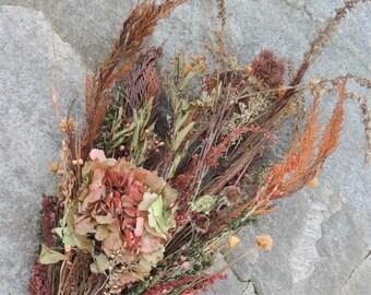 Woodland Wedding Bridal Bouquet Dried Flower Hydrangea Earth Tones Cedar Pine Fern Brown Coral Burt Orange