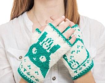 Totoro Fingerless Gloves - Hand-Knit From Pure Merino Wool Totoro Gloves Arm Warmers Merino Fingerless Gloves Texting Gloves Green Gloves