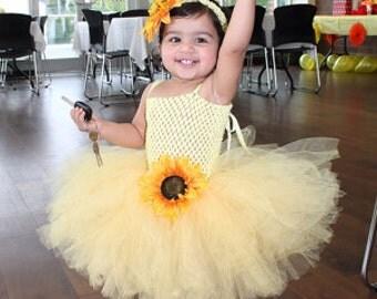 Sunflower Tutu Dress with Matching Sunflower Headband My Sunshine Birthday Girl Tutu Dress