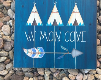 Little Man Cave, Lil' Man Cave, Nursery Decor, Baby Boy Nursery, Woodland Nursery, Little Man Cave Sign, Tribal Nursery, Nursery Wall Art