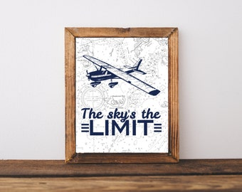 Sky's the limit art, Vintage airplane map art, Rustic airplane wall art, rustic nursery baby boy decor, airplane art poster, A-1135