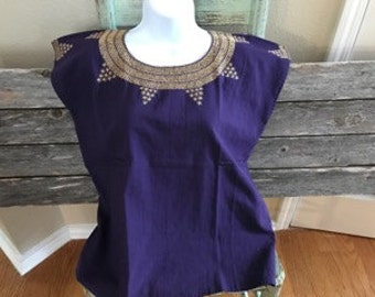 Mexican Embroidered Purple Top (Small)