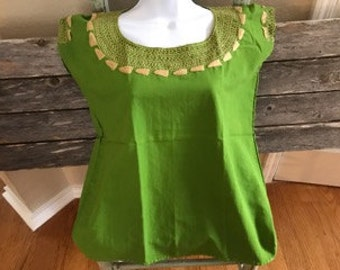 Mexican Embroidered Green Top (Small)