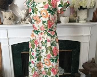 60s Sequine Embellished Floral Summer Dress