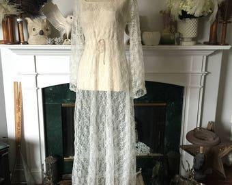 Sheer Lace Drawstring Waist Summer Dress