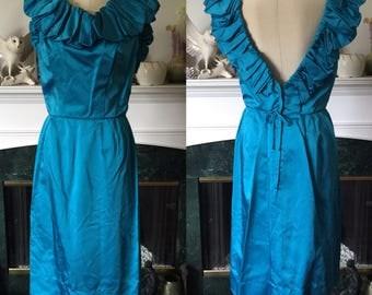 50s Turquoise Blue Satin Wiggle Dress w/ bubble neckline