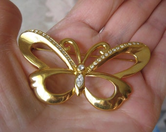 Sara Coventry Gold Toned Large Butterfly and Rhinestoned Brooch Pin, 1990's, Vintage, rosesandbutterflies, hollywood regency, jewelry