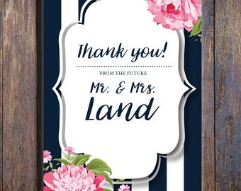 Floral Bridal Shower Thank You Note - Navy with Pink Peonies (Printable, Boho Bridal Shower Thank You, Rustic Bridal Shower Thank You Note)
