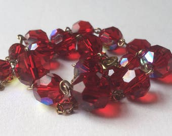 Vintage 1960s Red Wine Aurora Borealis Faceted Glass Bead Golden Tone Metal Chain Choker Necklace