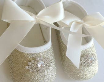 SALE Gold Bay Girl Shoes- Girls Gold Anti Slip Shoes- Sparkle Baby Shoes