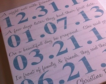 Personalized couples important dates, engagement gift, Dates to Remember, Family Dates, Home decor,  anniversary gift