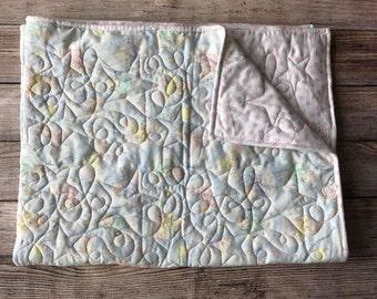 Baby blanket /machine quilted blanket / baby girl blanket / nursery blanket / pastel blanket / baby gift blanket