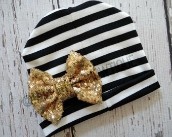 Black  and white striped beanie with gold sequin bow-baby beanie-baby hat- girl beanie- girl hat- beanie-  Bow-Baby Beanie