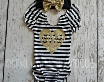 First Birthday  white an black stripes leotard- 1st birthday leotard- baby girl leotard- one birthday leotard, First birthday leotard