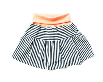 Organic jersey skirt for girls, light maritim summer skirt