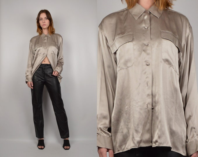 Minimal Silk Shirt minimalist button down vintage blouse
