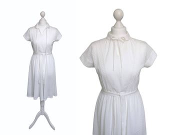 70's Dress - 1970's Vintage Dress - White Dress - Peter Pan Collar - Semi See Through Dress - Cotton Knit Dress