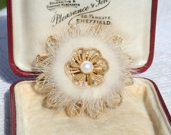 Fluffy Vintage Fur and Faux Pearl Gold Tone Circular Brooch