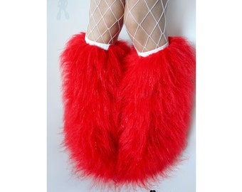 Red fluffies - MADE TO ORDER // red glitter fluffies // red legwarmers // faux fur boots // faux fur legwarmers // red leggings // christmas