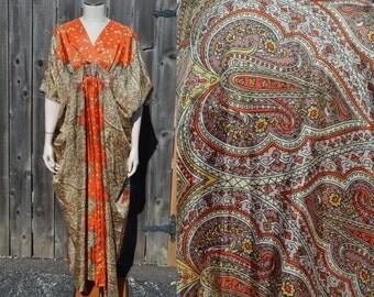 Kimono Dress, Asian Dress, Zack's East Liverpool 1950's Dress, Paisley and Floral Dress, Lounge Dress, Women's Kimono, Ladies' Kimono, Small